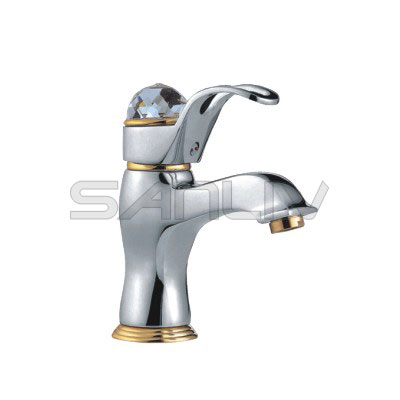 Single Hole Crystal Handle Basin Faucet Chrome | Bathroom Basin ...
