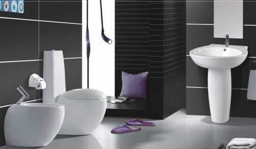 Modern-style-bathroom-design-with-black-tiles-and-white-floor