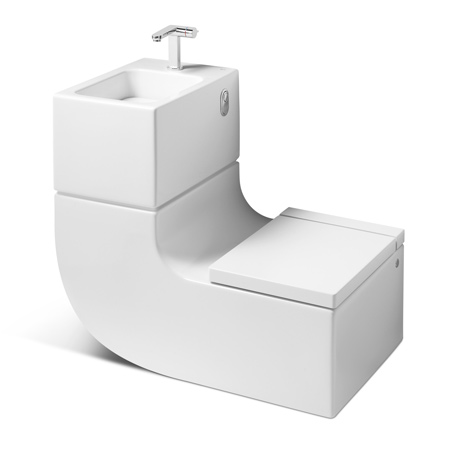 Use the waste water from basin to toilet seat