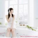 Sexy Girl Enjoy Music in the Bathtub