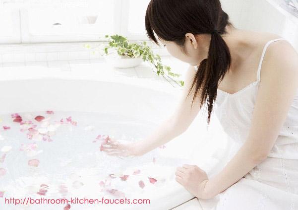 Beautiful Girl Play Water In Bathtub