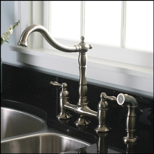 brushed nickel kitchen faucet spray
