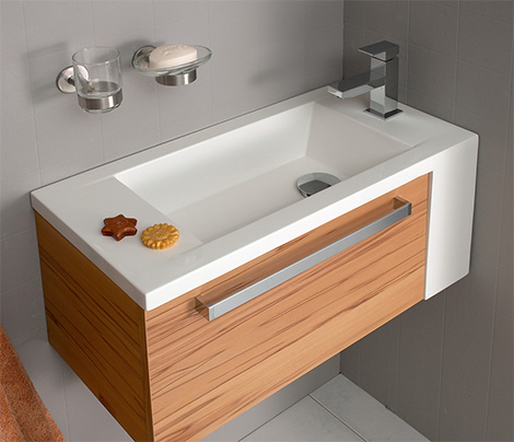 Corner bathroom vanity furniture is the solution to small bathrooms