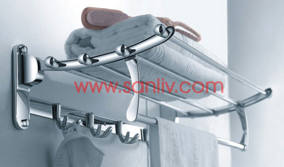 Bath Towel Bar Shelf with Double Robe Hooks