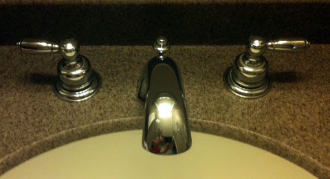 delta bathroom sink faucet before disassembly photo