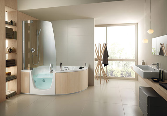 Best designs of corner whirlpool shower combo by teuco for Jet tub bathroom designs