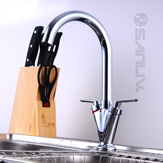 Cheap Kitchen Sinks And Faucets : Cheap Slim Classic Double-Handle Kitchen Sink Faucet Best Kitchen ...