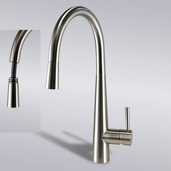 Cheap Pulldown Brushed Nickel Kitchen Faucet In USA And Canada
