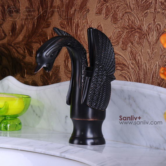 Oil Rubbed Bronze Swan Style Bathroom Sink Faucets