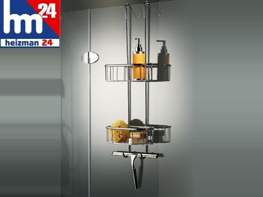 Basket Shower Caddy Shelf Hangs from Shower Enclosures or Curtain Rod