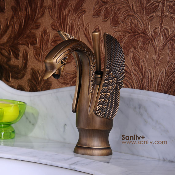 Antique Bronze Swan Style Basin Mixer Taps | Bathroom Basin Mixer Taps