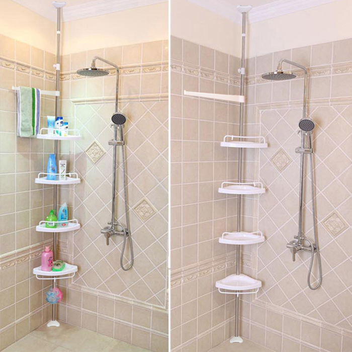 Bathroom Shower Corner Shelves : Fantastic Pink Bathroom Shower ...